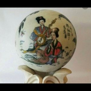 Large Hand Painted Bombay Porcelain Orb.